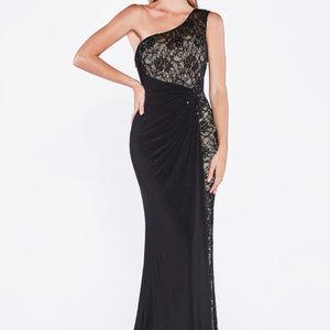One Shoulder Lace Black Long Marmaid Dress CD1144